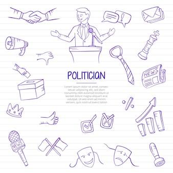 Político en el trabajo de política o profesión de trabajos doodle dibujado a mano con estilo de contorno en la ilustración de vector de línea de libros de papel