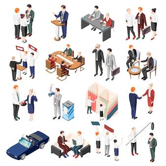 Los políticos durante la conferencia de debates y los votantes de la campaña electoral y los partidarios conjunto de iconos isométricos aislados
