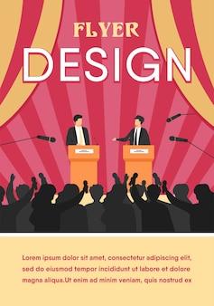 Políticos hablando o teniendo debates frente a la audiencia plana.