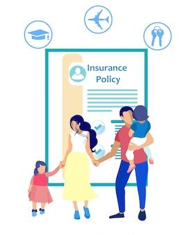 Póliza de seguro y personas sobre fondo blanco.