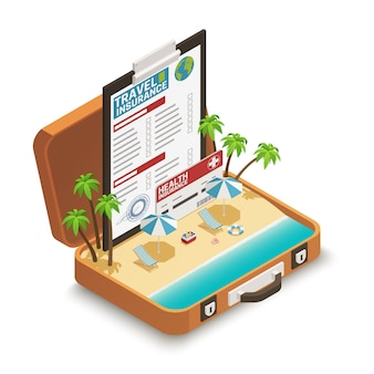 Póliza de seguro de viaje isométrica