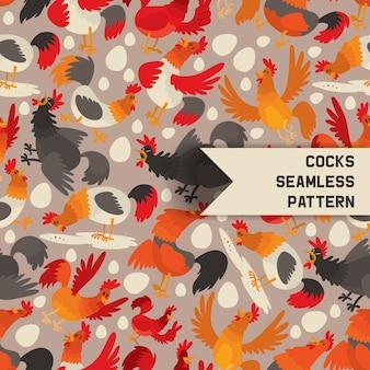Pollas de patrones sin fisuras. gallos de personaje de dibujos animados comiendo grano, semillas con huevos