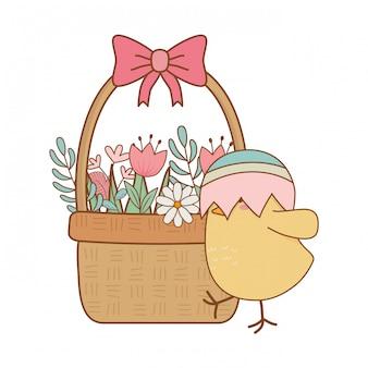 Pollito con huevo roto en canasta floral personaje de pascua