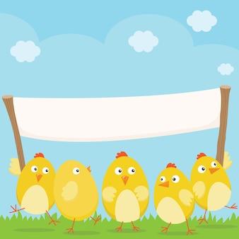 Pollitos de pascua felices con gran bandera en blanco.