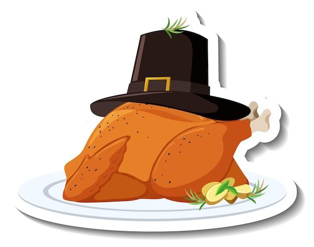 Pollo asado en un plato con sombrero