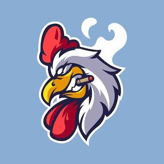 Un pollo chupa cigarrillos logotipo de mascota de dibujos animados