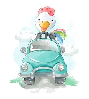 Pollo de dibujos animados conduciendo una ilustración de coche