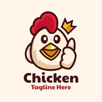 Pollo de dibujos animados lindo pulgares arriba diseño de logotipo