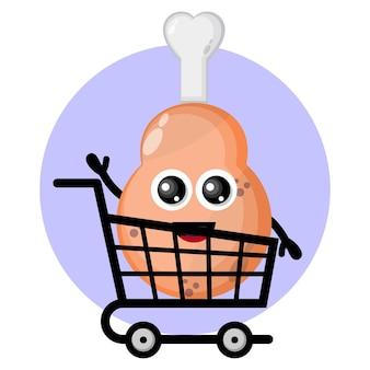 Pollo frito muslo carro de la compra personaje lindo