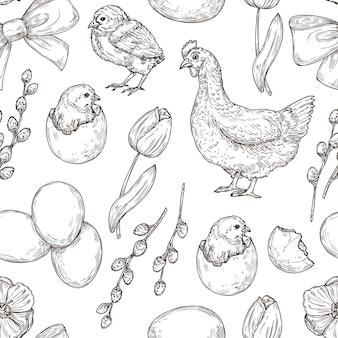Pollo y huevo de primavera, tulipán y patrones sin fisuras de pascua