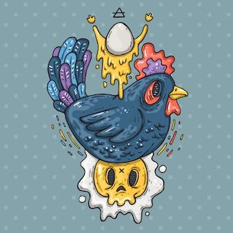 Pollo oscuro y huevos fritos. ilustración de dibujos animados en estilo cómic de moda.
