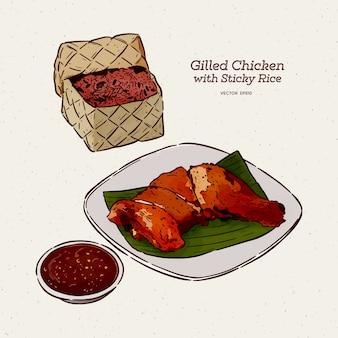 Pollo a la parrilla con arroz pegajoso, boceto a mano