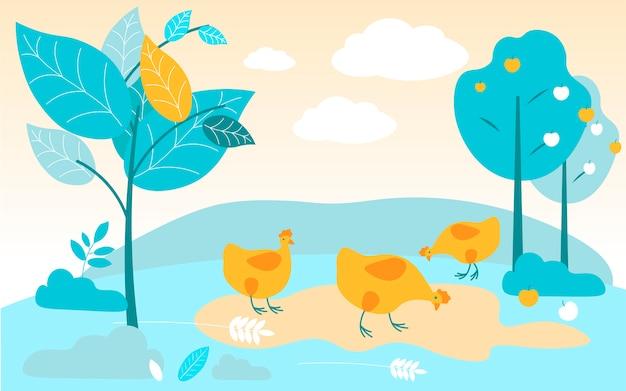 Pollos rojos pasta en el jardín. ilustración vectorial