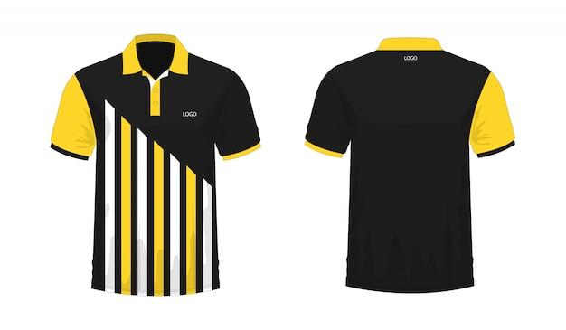 Polo de la camiseta amarilla y plantilla negra para el diseño en el fondo blanco. ilustración de vector eps 10.