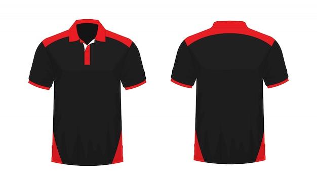 Polo de la camiseta roja y plantilla negra para el diseño en el fondo blanco. ilustración de vector eps 10.