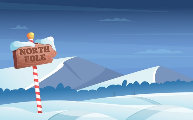Polo norte señal de tráfico. nevado con árboles de nieve noche bosque país de las maravillas vacaciones de invierno ilustración de dibujos animados