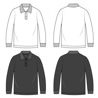 Polo shirts hombres plantilla de boceto plano de moda