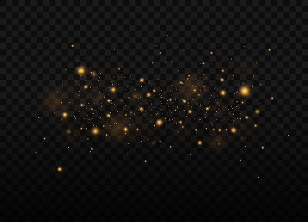 Polvo amarillo destellos de luz hermosa las partículas de polvo vuelan en el espacio