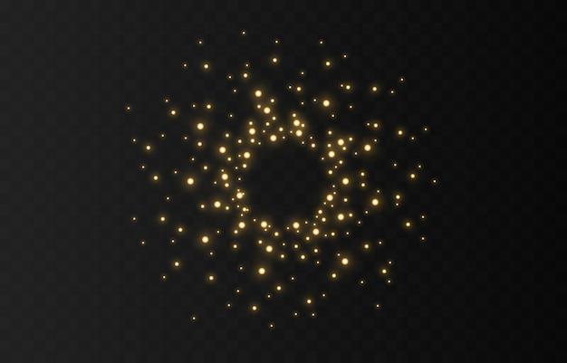Polvo chispas y estrellas blancas brillantes con luz lineal. brilla en un fondo transparente. efecto de luz. brillantes partículas de polvo mágico.