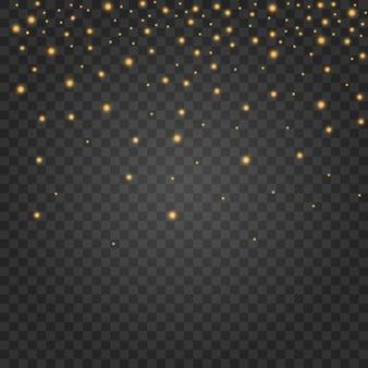 El polvo chispea y las estrellas doradas brillan con una luz especial. brilla en un fondo transparente. brillantes partículas de polvo mágico.