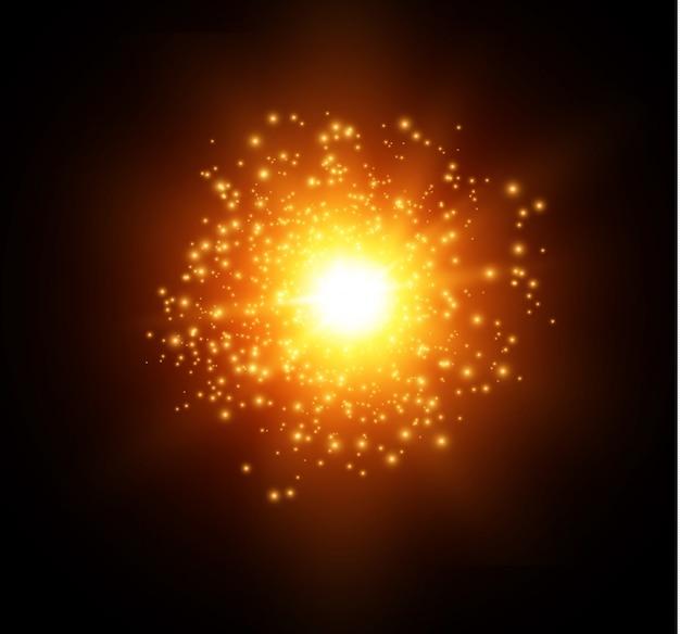 El polvo chispea y las estrellas doradas brillan con una luz especial. brilla sobre un fondo negro. efecto de luz navideña. vector stock interior de partículas de polvo mágico espumoso