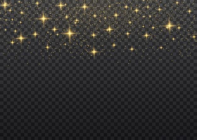 El polvo chispea y las estrellas doradas brillan con una luz especial. vector brilla sobre un fondo transparente. efecto de luz de navidad. brillantes partículas de polvo mágico.