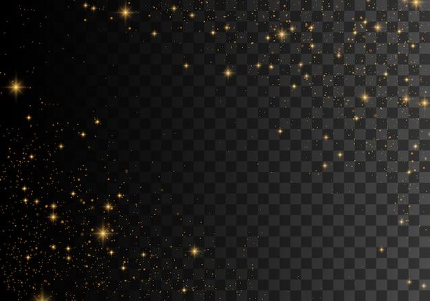 El polvo chispea y las estrellas doradas brillan con una luz especial.