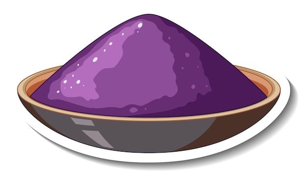 Polvo de color púrpura en un recipiente sobre fondo blanco.