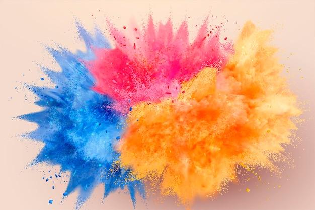 Polvo de colores explotó en el aire, ilustración 3d