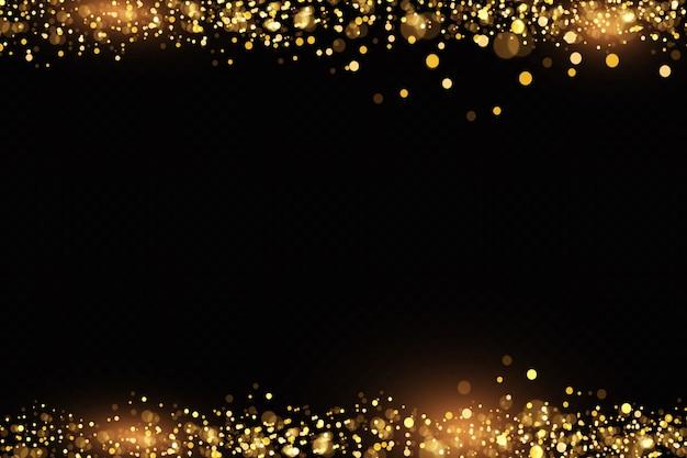 El polvo dorado, las chispas amarillas y las estrellas doradas brillan con una luz especial. partículas de polvo mágico espumoso.