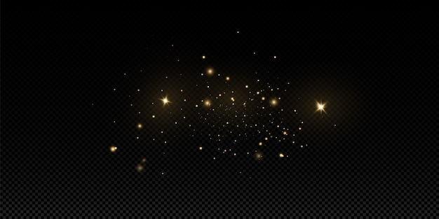 El polvo dorado de navidad, las chispas amarillas y las estrellas doradas brillan con una luz especial. brilla con brillantes partículas de polvo mágico.