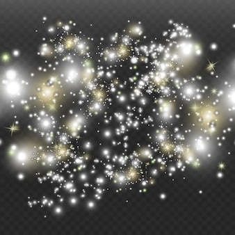 El polvo del espacio, sobre un fondo transparente. fascinantes destellos de estrellas, polvo brillante.