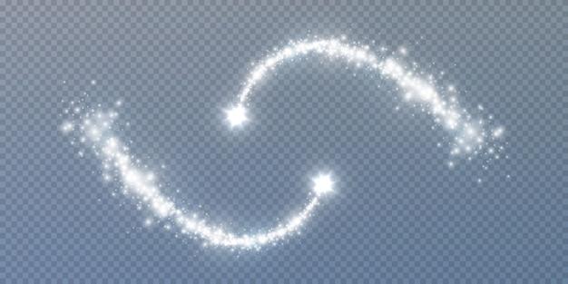 Polvo de estrellas brillante. mágicas olas de polvo brillante que brillan intensamente estelas de estrellas, efectos de luz brillante de navidad.