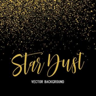 Polvo de estrellas doradas aislado sobre fondo negro vector