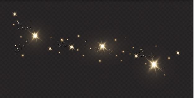 Polvo de estrellas partículas brillantes. ilustración.