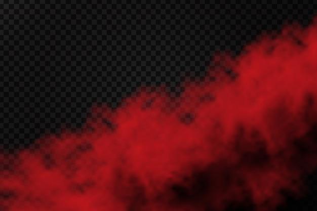 Polvo de humo rojo realista para decoración y revestimiento en el fondo transparente.