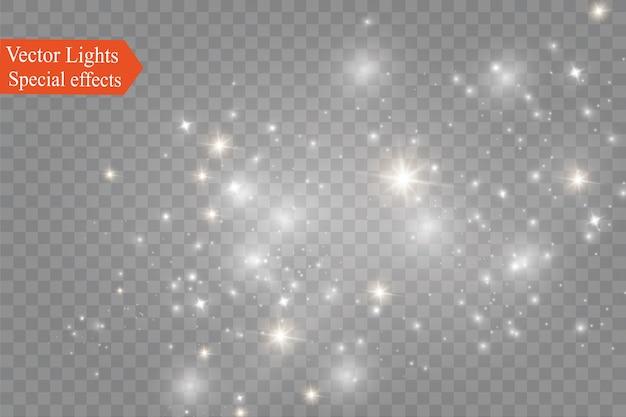 Polvo sobre un fondo transparente estrellas brillantes.