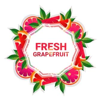 Pomelo fruta colorido círculo copia espacio orgánico sobre fondo blanco
