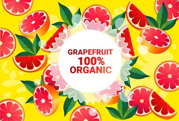 Pomelo fruta colorido círculo copia espacio orgánico sobre fondo de patrón de frutas frescas estilo de vida saludable o concepto de dieta