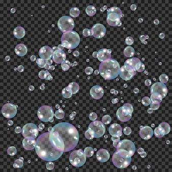 Pompas de jabón realistas con efecto de reflejo de arco iris. burbujas de espuma de agua.