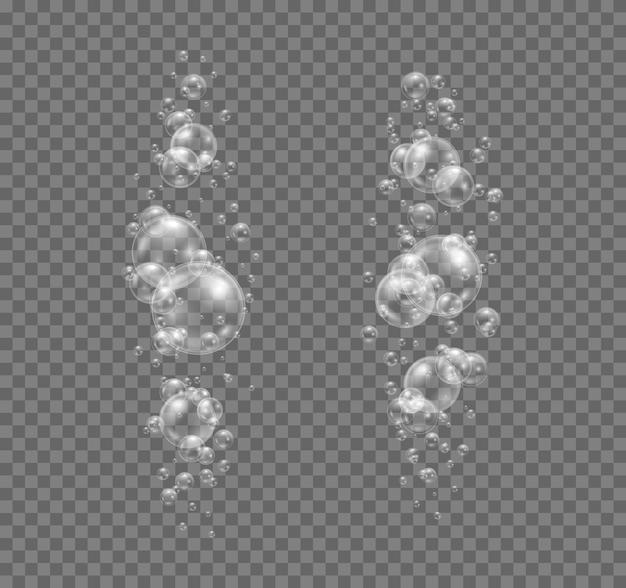 Pompas de jabón transparentes y realistas. burbujas de agua transparentes. champú, espuma.