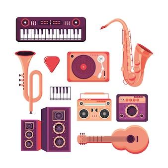 Pon instrumentos profesionales para tocar en el festival de música.