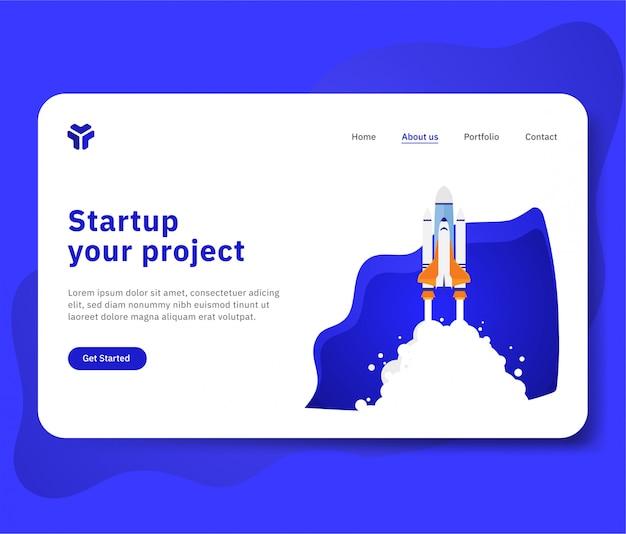 Pon en marcha tu proyecto para sitio web con ilustración de nave espacial.