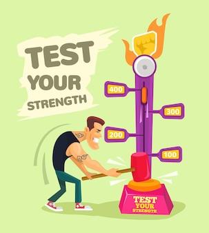 Pon a prueba tu fuerza ilustración plana