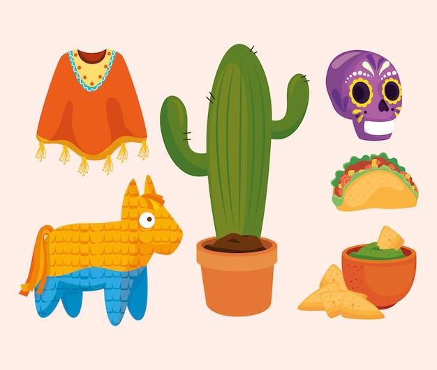 Poncho de cactus mexicano piñata cráneo taco tazón y nachos