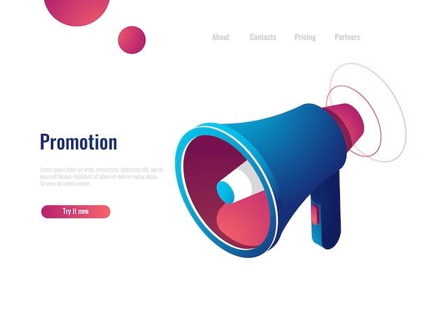 Ponente, promoción y publicidad, notificación y noticias. icono isométrico.