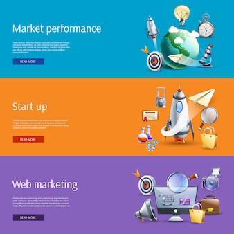 Poner en marcha el conjunto de banners planos de marketing