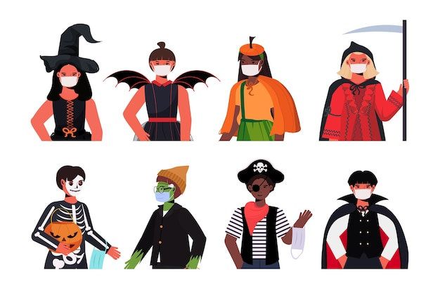 Poner a la gente en máscaras con diferentes disfraces feliz celebración de la fiesta de halloween coronavirus concepto de cuarentena colección de retratos