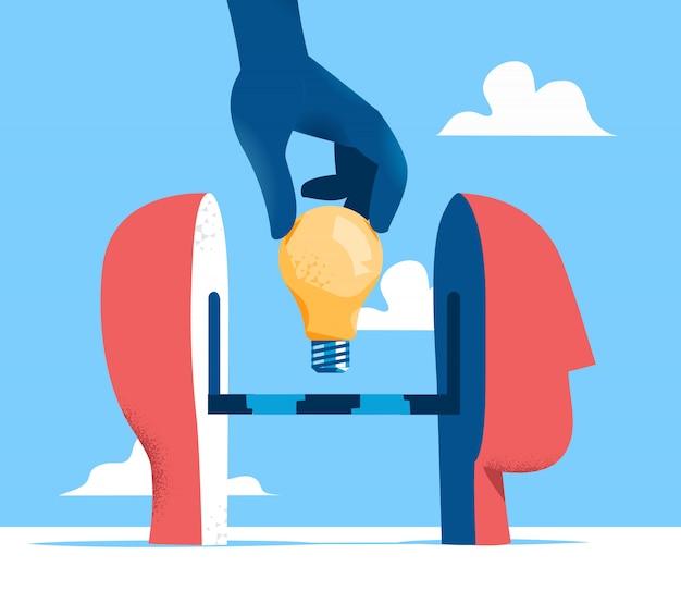 Poner ideas en la ilustración de la cabeza humana
