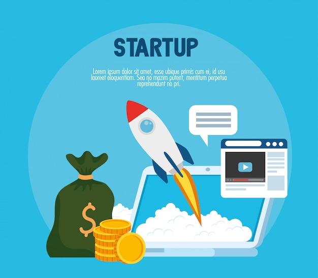 Poner en marcha el cohete con el sitio web de monedas de bolsa de dinero portátil y el diseño de vector de burbuja